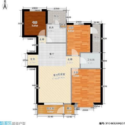 嘉润东方香榭里3室0厅1卫1厨115.00㎡户型图
