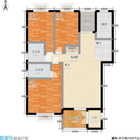申奥美域 叠翠人家3室1厅2卫1厨164.00㎡户型图