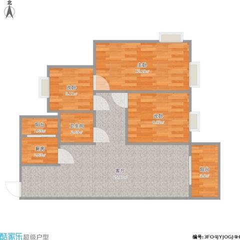 雅居乐・铂爵山3室1厅1卫1厨85.00㎡户型图
