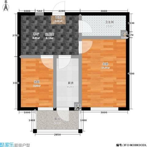 鹏程・上漾园2室0厅1卫1厨52.00㎡户型图