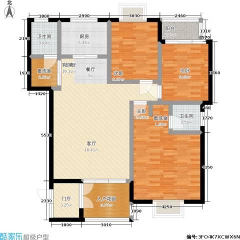 申奥美域 叠翠人家3室1厅2卫1厨125.00㎡户型图