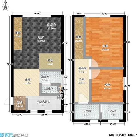锦华银座2室0厅2卫0厨65.60㎡户型图
