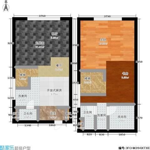 锦华银座1室0厅2卫0厨53.75㎡户型图