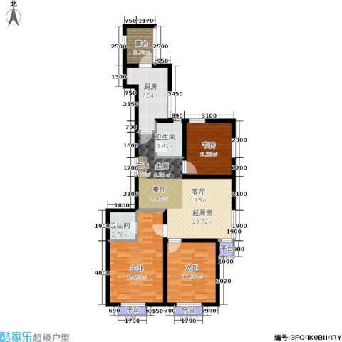 千缘爱在城3室0厅2卫1厨117.00㎡户型图