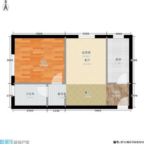 千缘爱在城1室0厅1卫1厨53.00㎡户型图