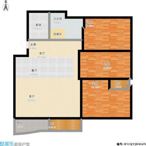 江城人家3室1厅1卫1厨190.00㎡户型图