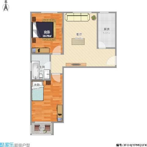 东风小区2室1厅1卫1厨73.00㎡户型图