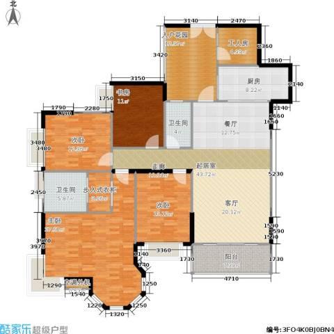 恒大绿洲4室0厅2卫1厨170.00㎡户型图