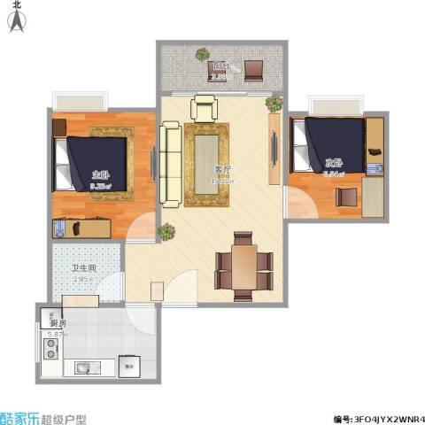 青河世家2室1厅1卫1厨65.00㎡户型图