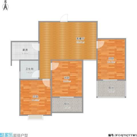 青春雅轩3室1厅1卫1厨108.00㎡户型图