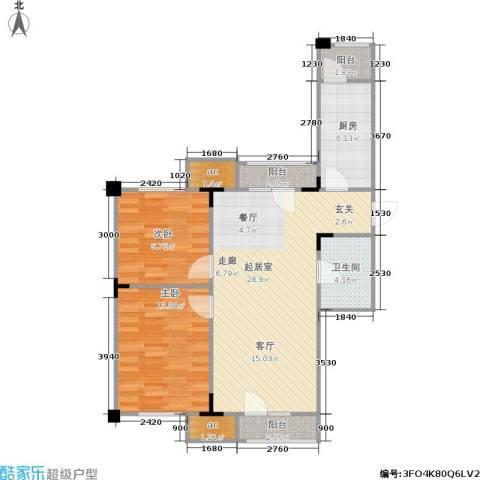 中海英伦观邸2室0厅1卫1厨78.00㎡户型图
