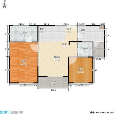 枫林绿洲A9公馆2室1厅2卫1厨91.00㎡户型图