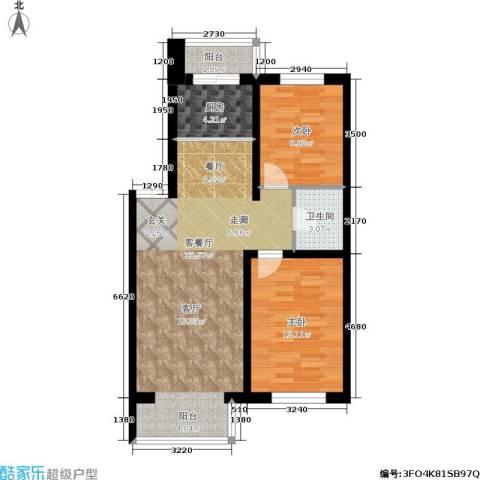 如意名苑2室1厅1卫1厨75.00㎡户型图