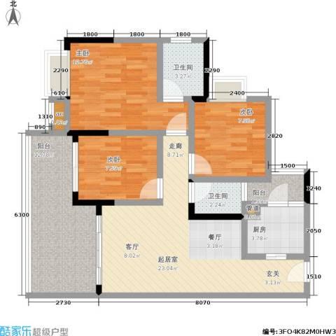 荣涛・丽苑3室0厅2卫1厨78.00㎡户型图