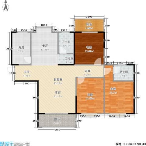 瑞凯・景城苑3室0厅2卫1厨139.00㎡户型图