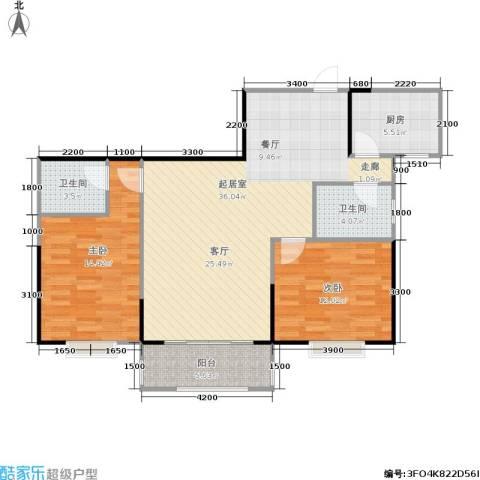 瑞凯・景城苑2室0厅2卫1厨109.00㎡户型图