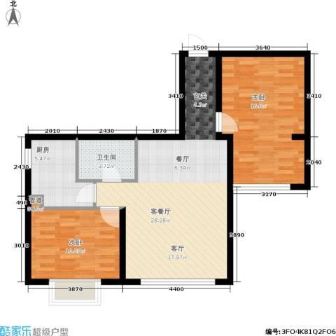 佳天・瑞宁花园2室1厅1卫1厨91.00㎡户型图