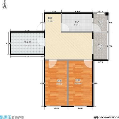 锋华城2室1厅1卫1厨72.00㎡户型图