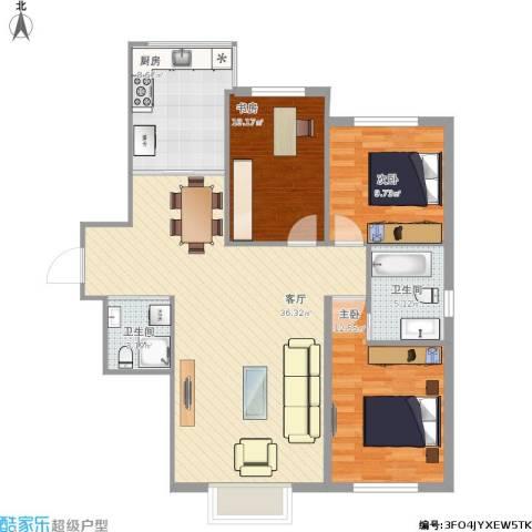 联想科技城3室1厅2卫1厨117.00㎡户型图