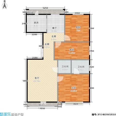 蓝天荣府3室0厅2卫1厨101.48㎡户型图