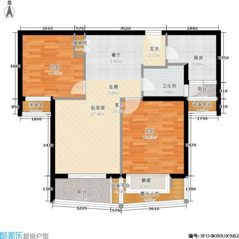 翡翠国际社区2室0厅1卫1厨86.00㎡户型图