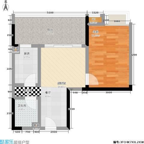 荣涛・丽苑1室0厅1卫1厨43.00㎡户型图