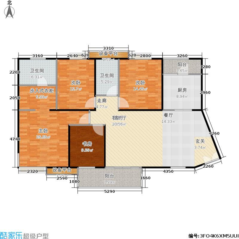 枫林绿洲二期户型4室1厅2卫1厨