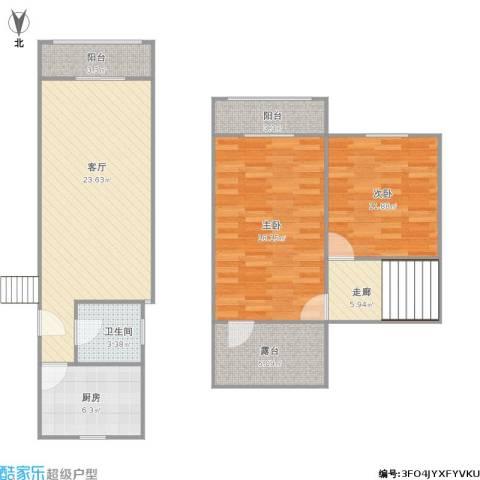 龙柏四村2室1厅1卫1厨109.00㎡户型图