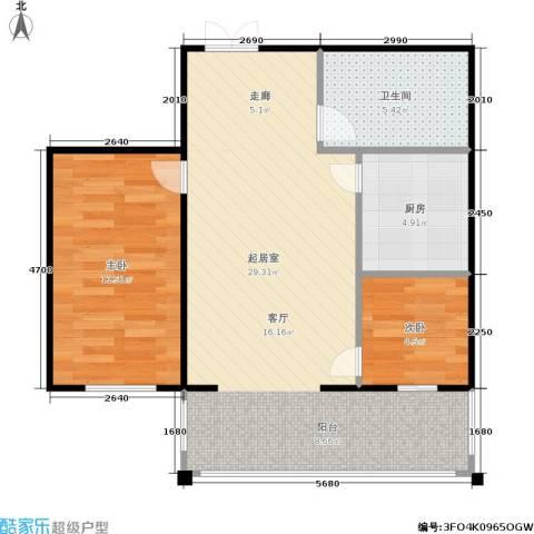 锋华城2室0厅1卫1厨60.00㎡户型图