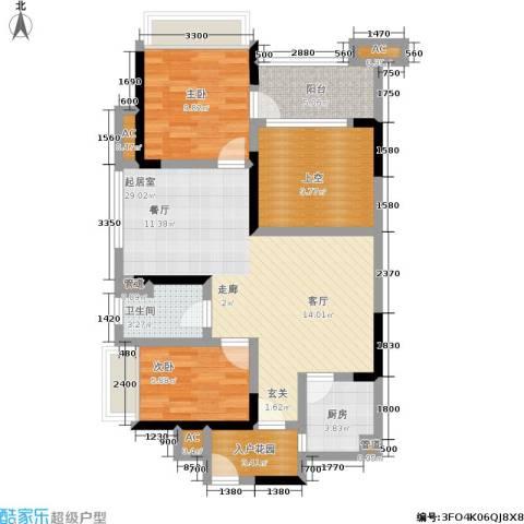 万科金域华府2室0厅1卫1厨108.00㎡户型图