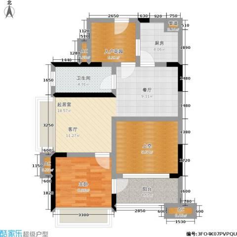 万科金域华府1室0厅1卫1厨85.00㎡户型图