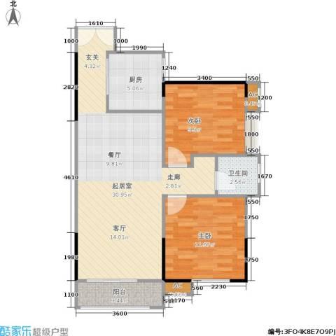 中豪城南时代2室0厅1卫1厨84.00㎡户型图
