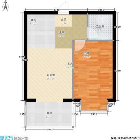 柒季城1室0厅1卫0厨50.00㎡户型图