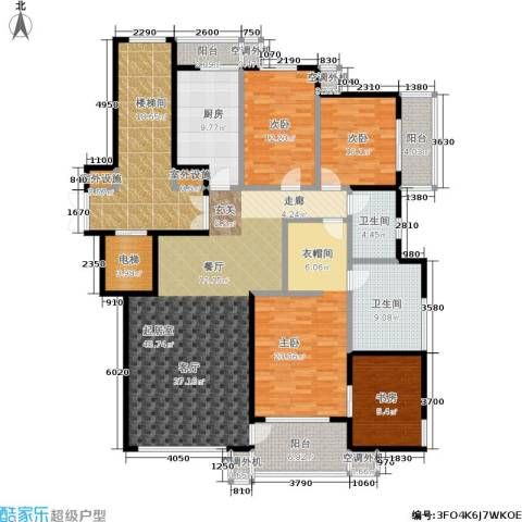 雅荷春天一期4室0厅2卫1厨162.91㎡户型图