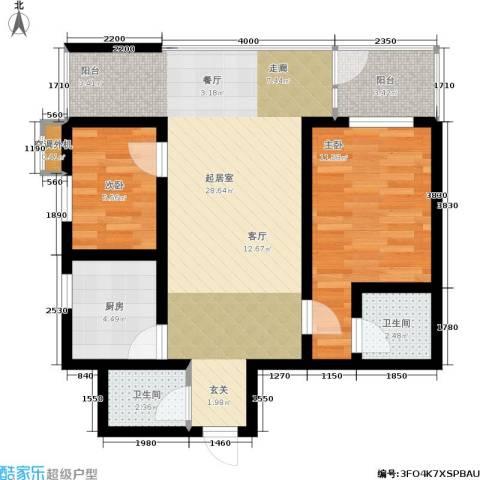 联邦东方明珠2室0厅2卫1厨78.00㎡户型图