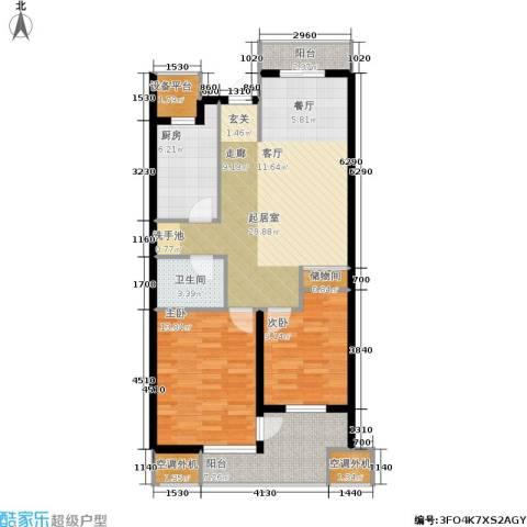 紫晶・天域2室0厅1卫1厨87.00㎡户型图