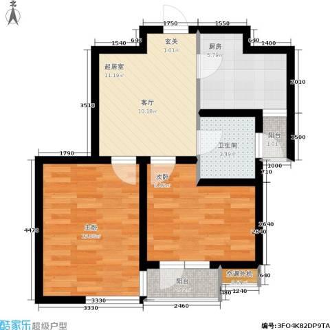 紫晶・天域2室0厅1卫1厨54.86㎡户型图