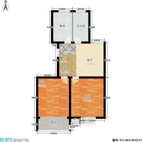 华夏春晓二期2室0厅1卫1厨87.00㎡户型图