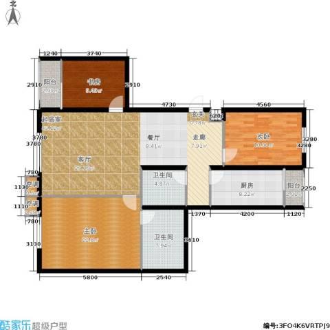 鑫源银座3室0厅2卫1厨161.00㎡户型图