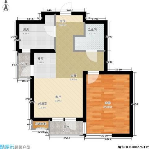 紫晶・天域1室0厅1卫1厨55.07㎡户型图