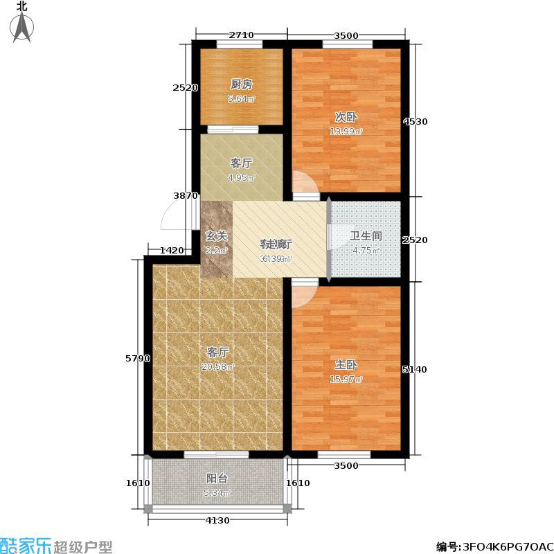 新店温泉花园90.58㎡2室2厅1卫1厨户型