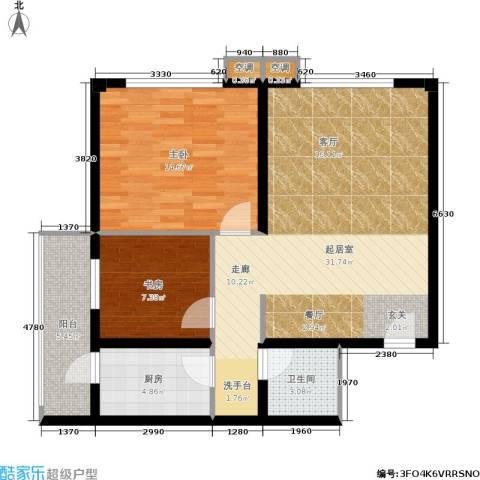 鑫源银座2室0厅1卫1厨96.00㎡户型图