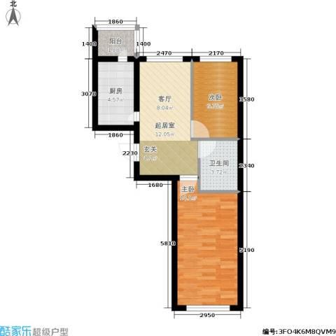 财富天地2室0厅1卫1厨50.00㎡户型图