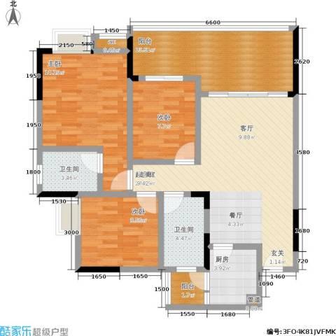 荣涛・丽苑3室0厅2卫1厨82.86㎡户型图