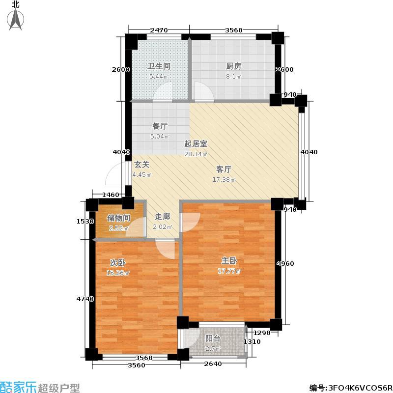 金润花园一期二房一厅一卫 面积76.76-89.03平方米户型