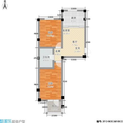 金润花园二期2室0厅1卫1厨80.00㎡户型图