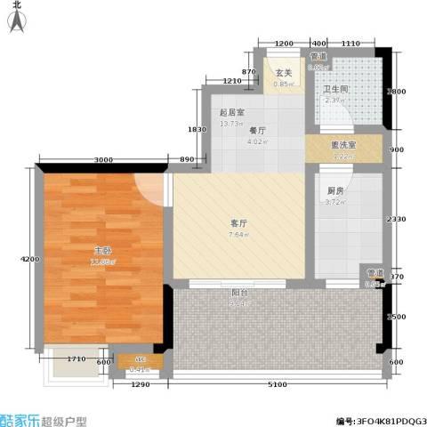 荣涛・丽苑1室0厅1卫1厨40.50㎡户型图