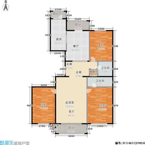 蓝天荣府3室1厅2卫1厨127.40㎡户型图