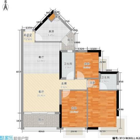 金碧世纪花园3室0厅2卫1厨108.00㎡户型图