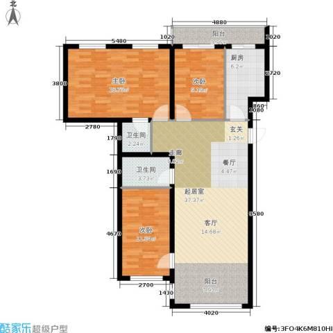 星河国阅公馆3室0厅2卫1厨130.00㎡户型图